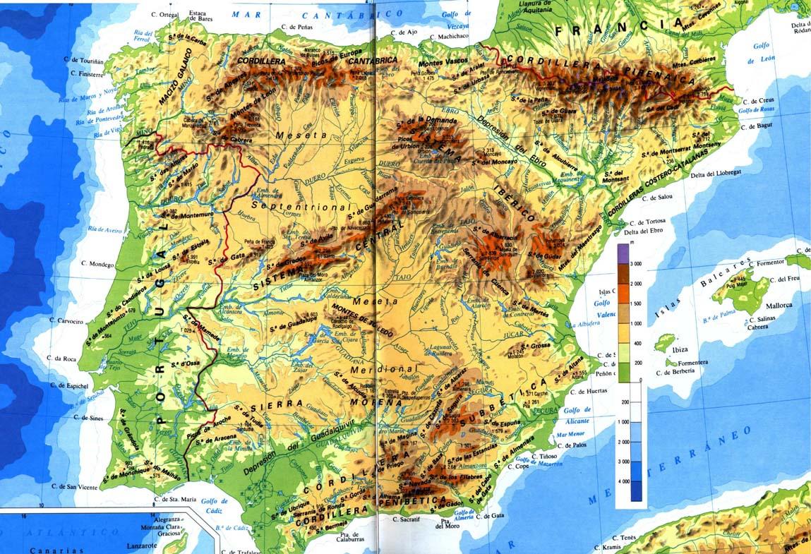 mapa de altitudes portugal Geografia Física de Portugal mapa de altitudes portugal