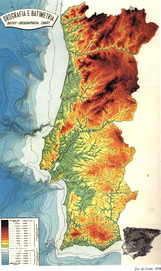 mapa de portugal relevo Geografia Física de Portugal mapa de portugal relevo